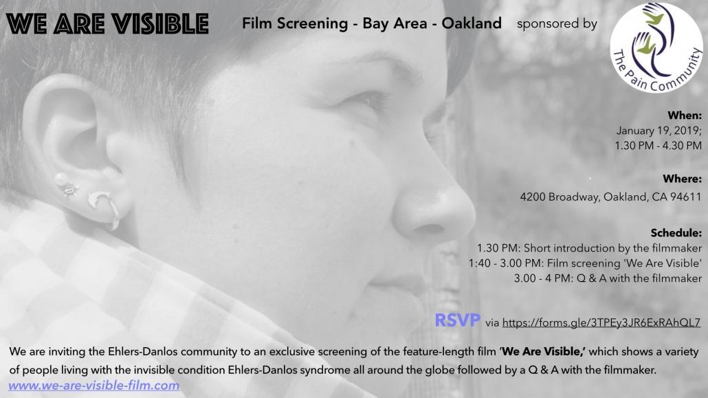Schwarz-weiß Bild einer Frau mit kurzen braunen Haaren, die in die Ferne schaut. Text: Film Screening Oakland