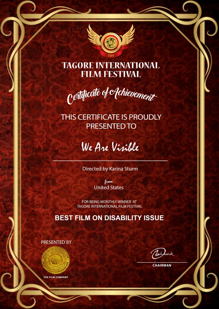 Urkunde: Certificate of Achievement, We Are Visible, Best Film on Disability Issues