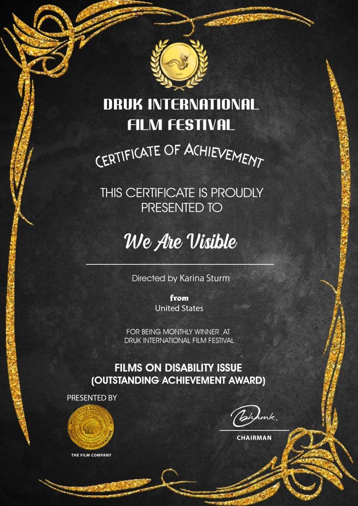 Certificate: Druk International Film Festival, Best Film on Disability Issues