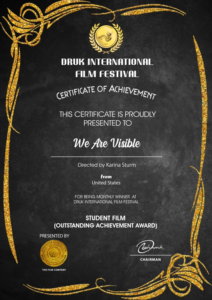 Certificate: Druk International Film Festival, Best Student Film