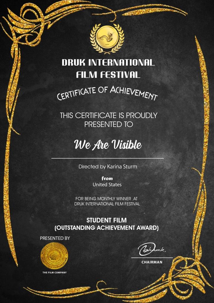 Certificate: Druk International Film Festival, Best Student Film