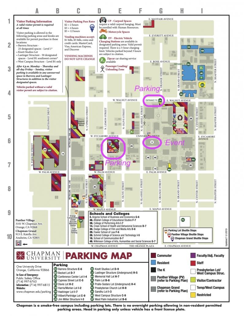 Campus Karte Chapman University mit markierten Parkplätzen