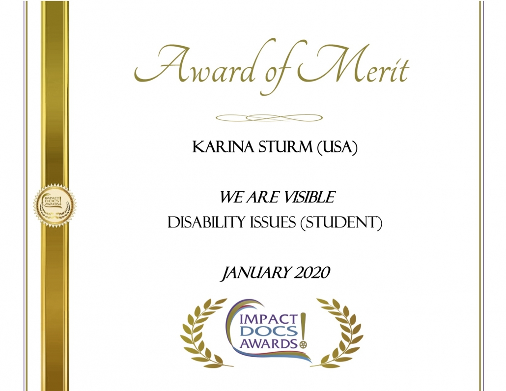 Impact Docs Award of Merit, We Are Visible, Disability Issues (Student)