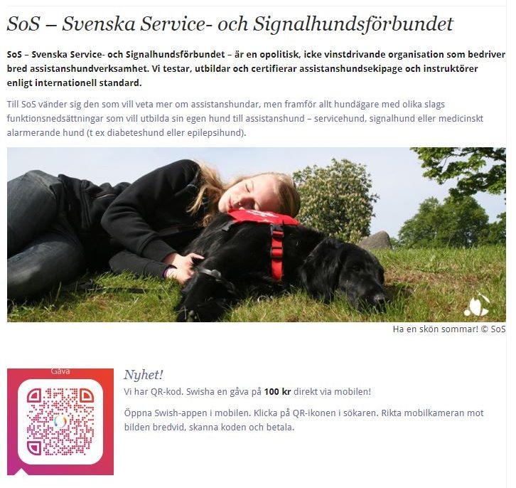 SoS - Svenska Service och Signalhundsförbundet. Länkande bild till förbundets hemsida.