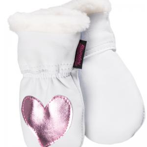Aplikoidut nahkarukkaset vauvoille - Väri Valkoinen - Pinkki kimallesydän