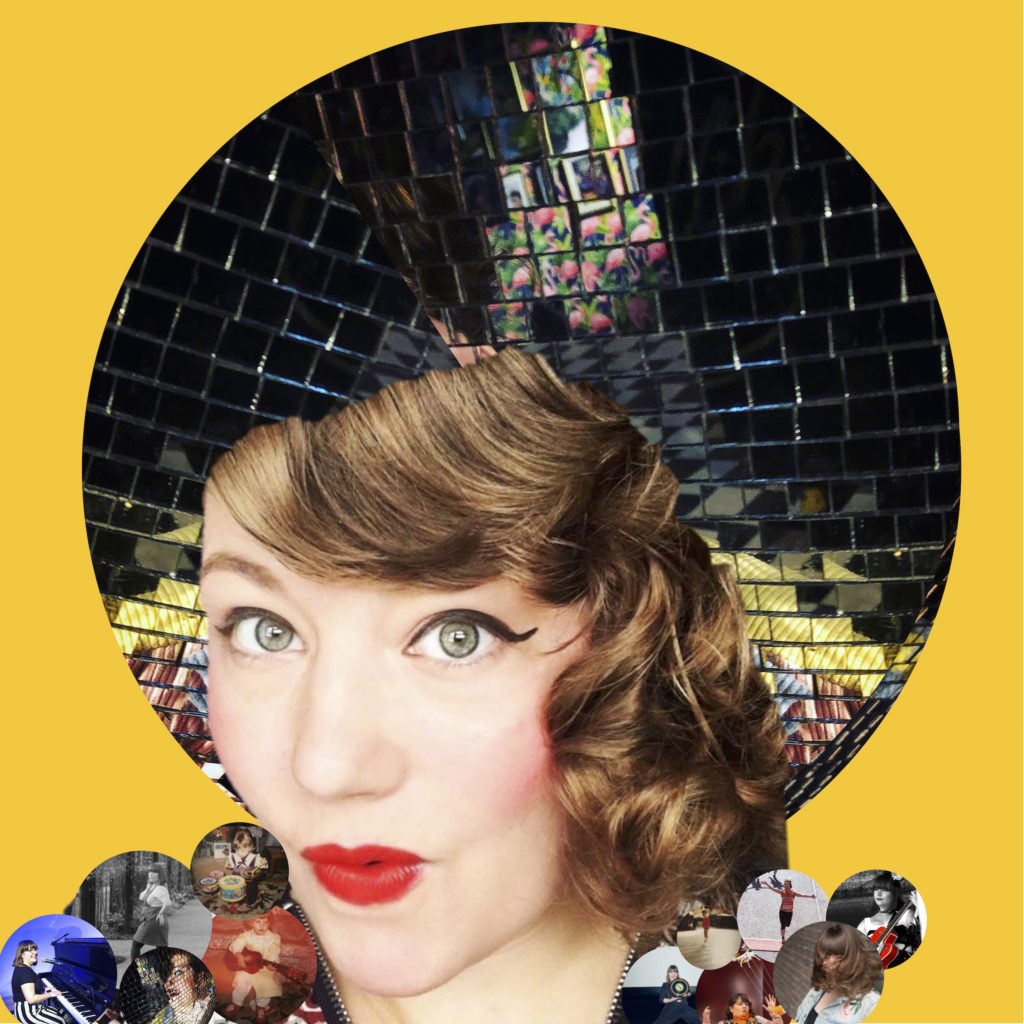 The thumbnail image for my Disco Ball show, featuring my head, with a disco ball for hair, and lots of small photos of me throughout my life in round bubbles making up the shape of my body. Like a collage, but with little round photos. I made it on PowerPoint.