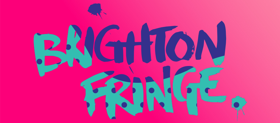 The Brighton Fringe logo. This year the background is a bright and vibrant pink, with the text in purple and light teal.