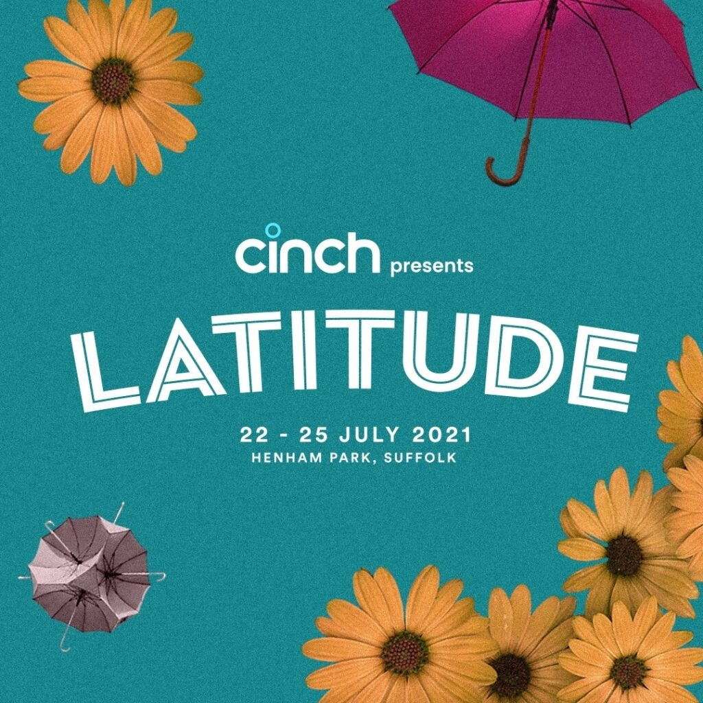 The Latitude Festival Logo, featuring the word Latitude, decorated with images of yellow flowers, tents and brollies, on a lovely teal background.