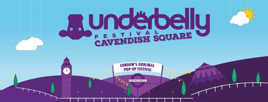 The Underbelly Festival Cavendish Square poster, featuring purple hills, purple big ben, a purple tent, and an upside down purple cow.