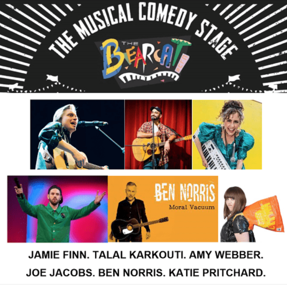It's the Hanwell Hootie Musical Comedy Stage Poster. Featuring the images of Jamie Finn, Talal Karkouti, Amy Webber, Joe Jacobs, Ben Norris & Me.