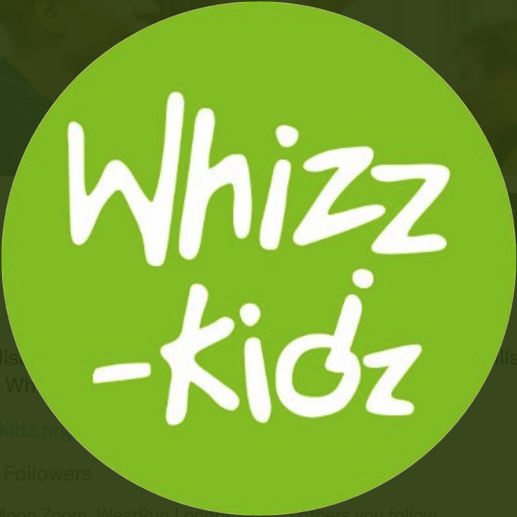 It's the Whizz-Kidz logo, featuring white text on a lime green background.