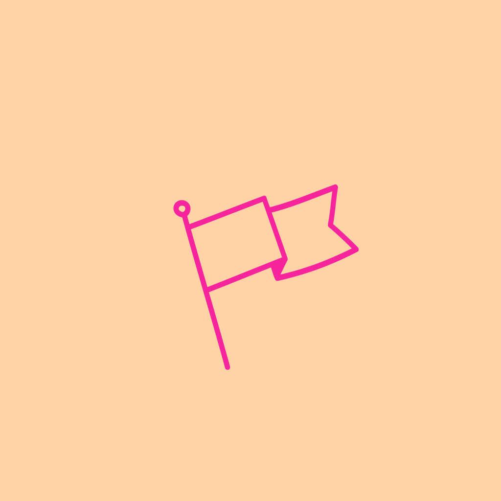 It's the Peace + Riot logo, featuring a pink outline of a flag on a peach background.