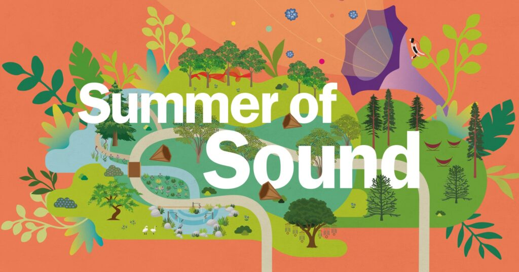 It's the Summer of Sound logo. Featuring beautiful illustration of the Botanical Gardens in Wakehurst, on a peachy-orange background.
