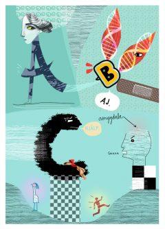 Kapitelillustration av Kati Mets, om funktionshinder, Liber