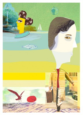 Omslag Liber Psykologi, fallsamling, collage av Kati Mets