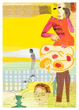 Omslag Psykologibok, Liber, Kollage av Kati Mets