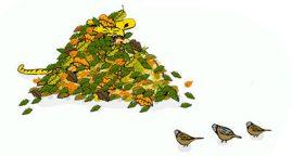 Core English,illustration lövhög med fåglar och svans, ill: Kati Mets