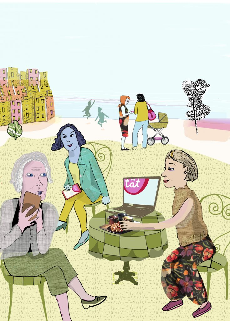 Framsida folder om inkontinens, illustration Kati Mets