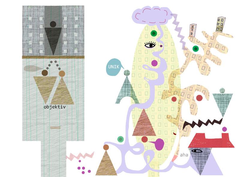 illustration av Kati Mets för Arkitekten om Aristoteles begrepp fronesis, klokhet