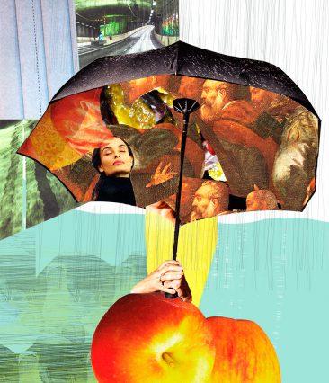 Kollage med paraply av Kati Mets