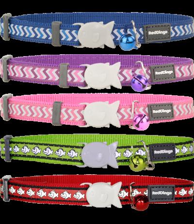 Katthalsband i olika färger, marinblå, lila, rosa, lime grön och röd