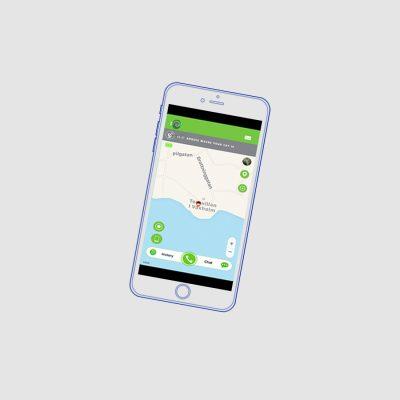 En mobil med Google maps i displayen