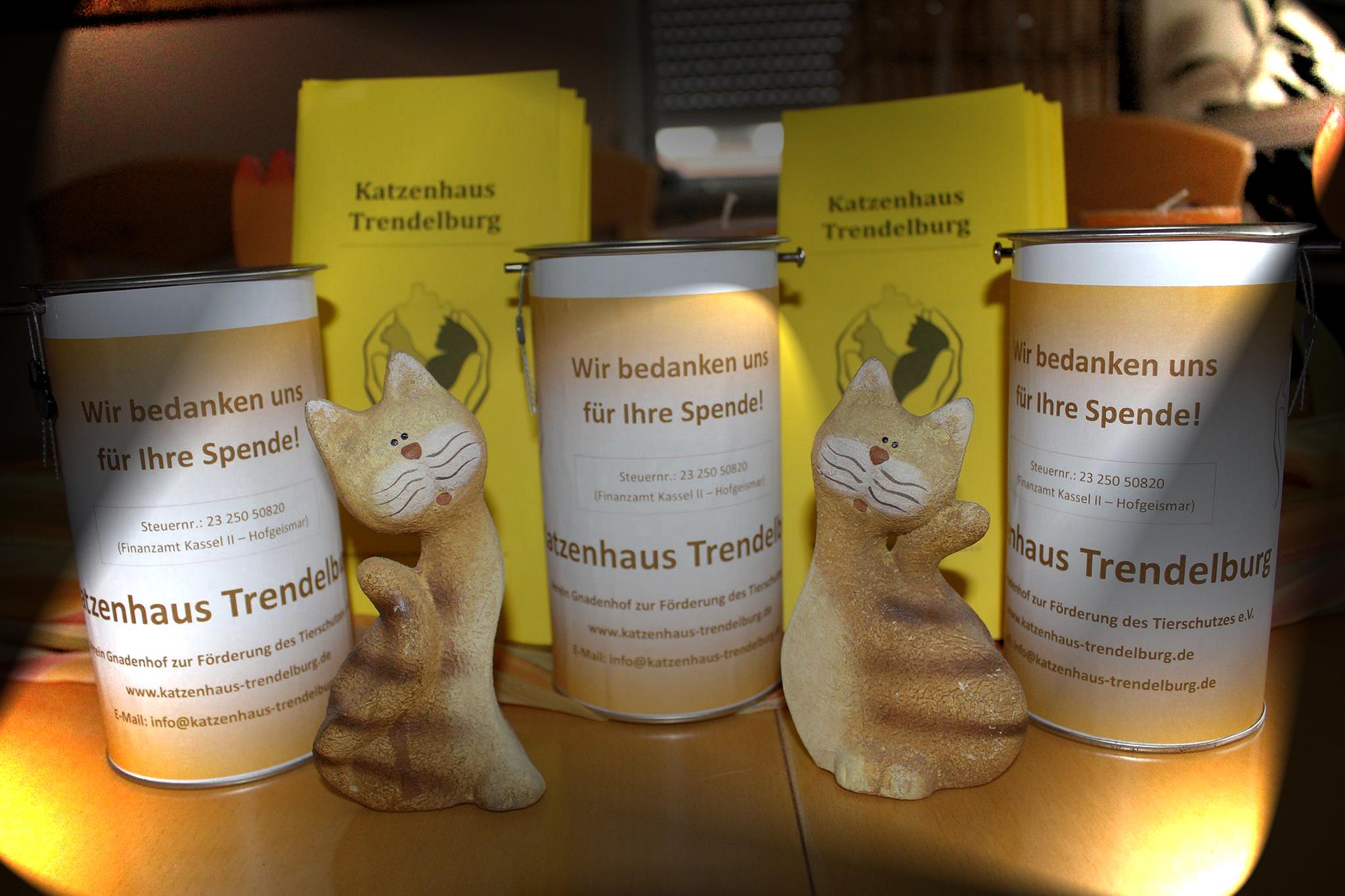 drei Spendendosen und gelbe Fleyer