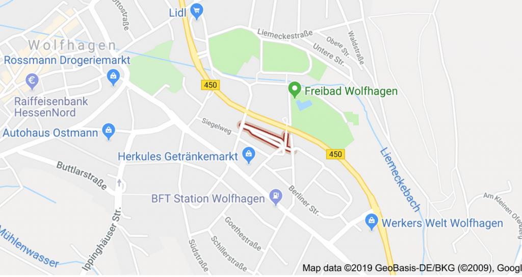 Ausschnitt von Google-maps für den Bereich Wolfhagen