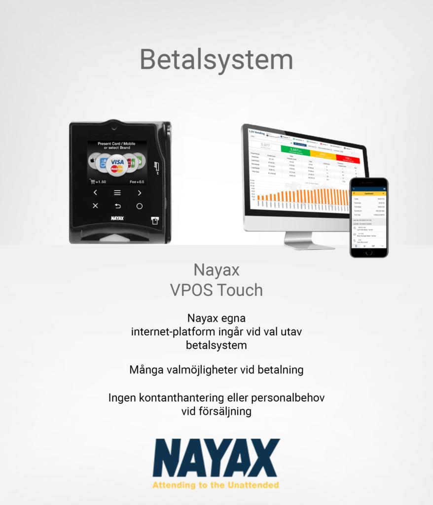 Illustrerar betalsystemet Nayax som tillval till Active Fuelstation
