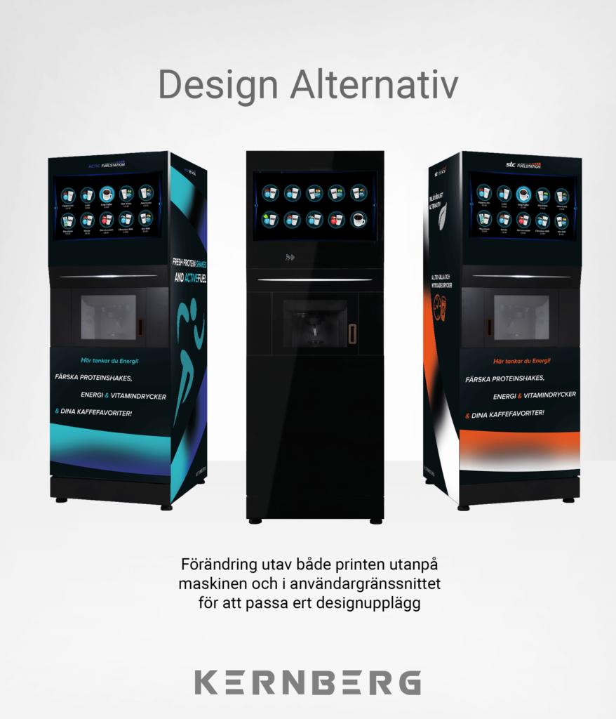 Illustrering av 3 olika designalternativ, och text som säger att maskinerna kan anpassas efter kunds designbehov