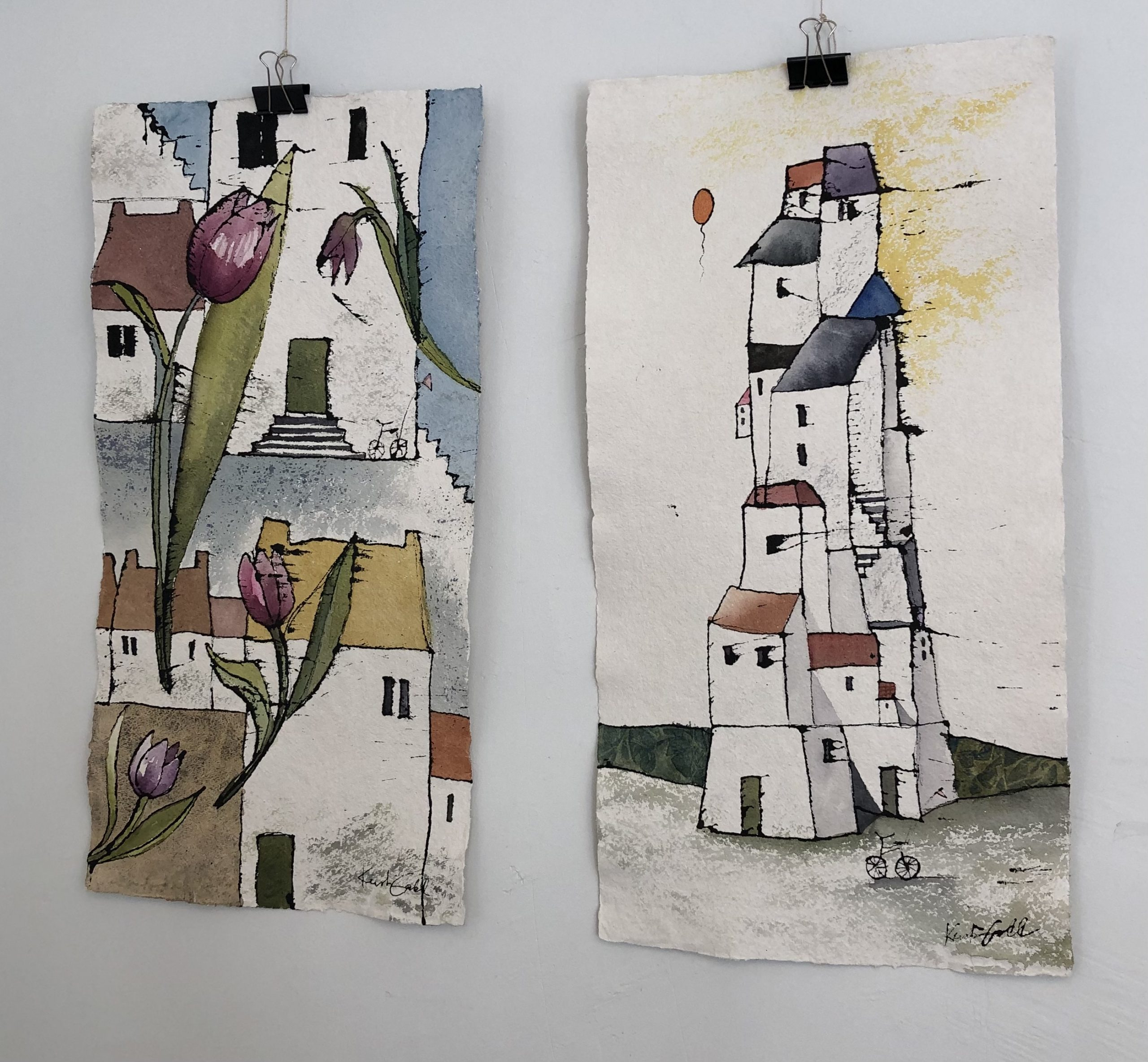 Under kyrkan. Akvarell 45X75 cm. Detar i utställningen Göteborg 2021 på Rivercity galleri  Göteborg