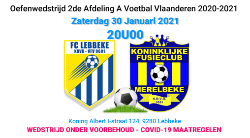 banner oefenwedstrijd30 januari 2021 Lebbeke