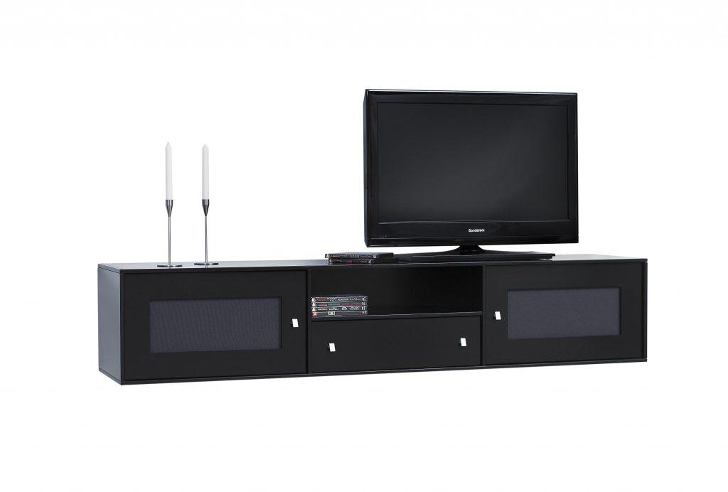 Square Reolen® TV-bord model 03, her vist i sort med stoflåger samt skuffe i midten.