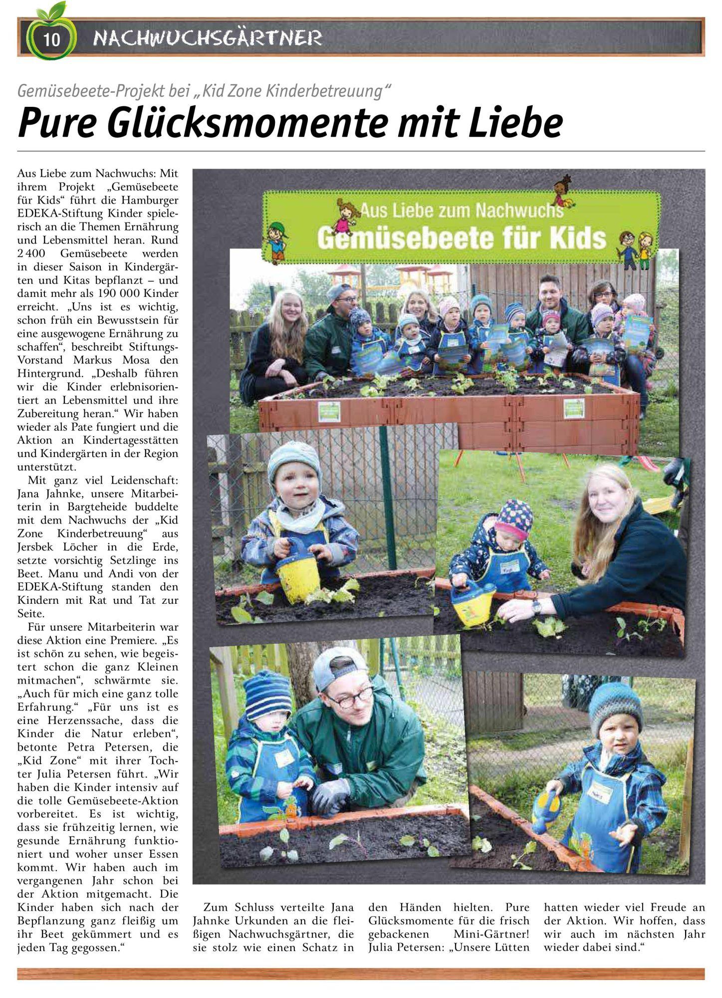 Kid Zone Kita Gemüsebeet Aktion 2019
