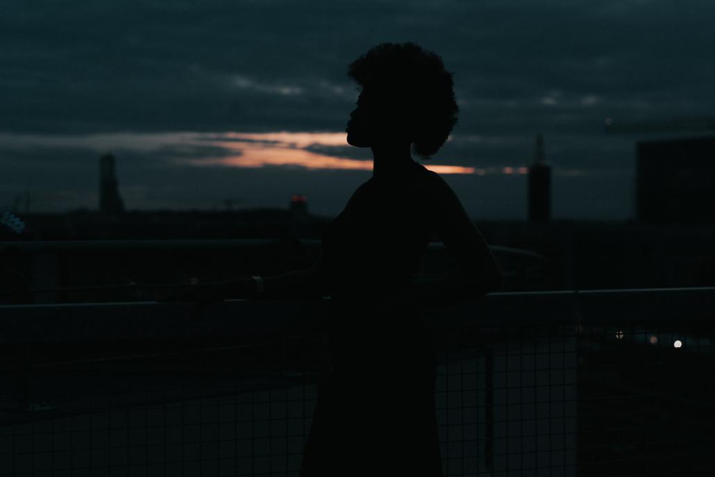 portrait mit silhouette
