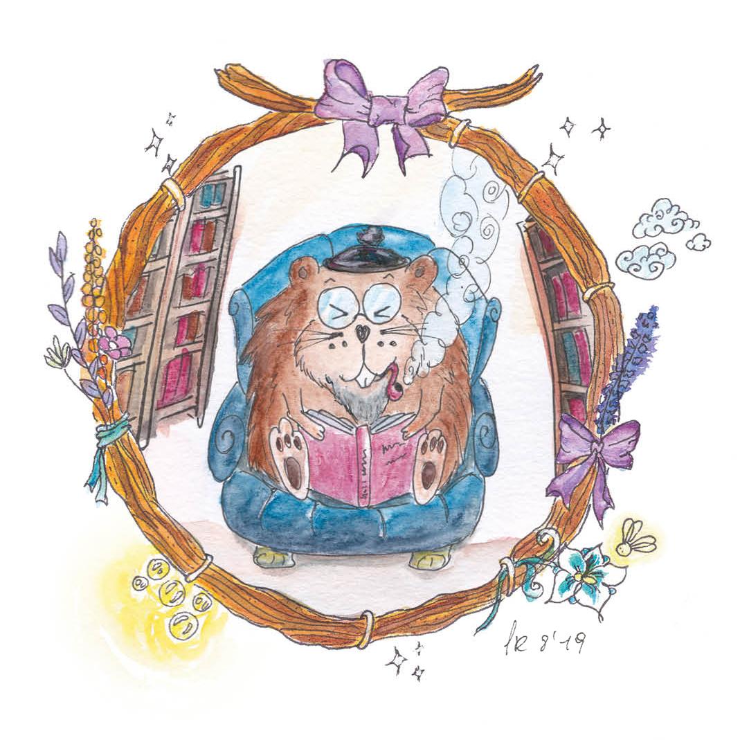 Der Hutzelmum lebt in seinem Bau, tief unter der Erde inmitten von tausenden von Büchern. Er ist das klügste Wesen in ganz Arundia, weil er so viel liest.