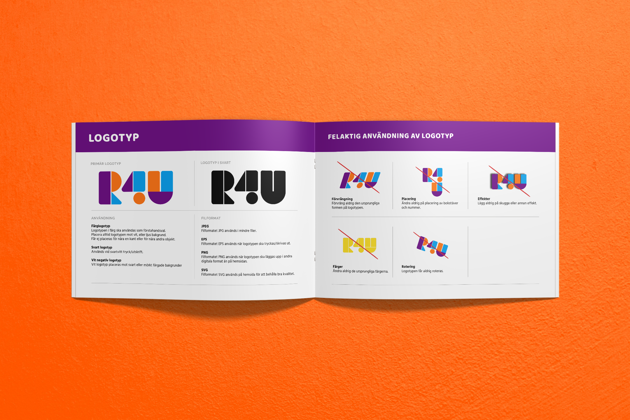 Uppslag ur grafisk manual för R4U Dansstudio