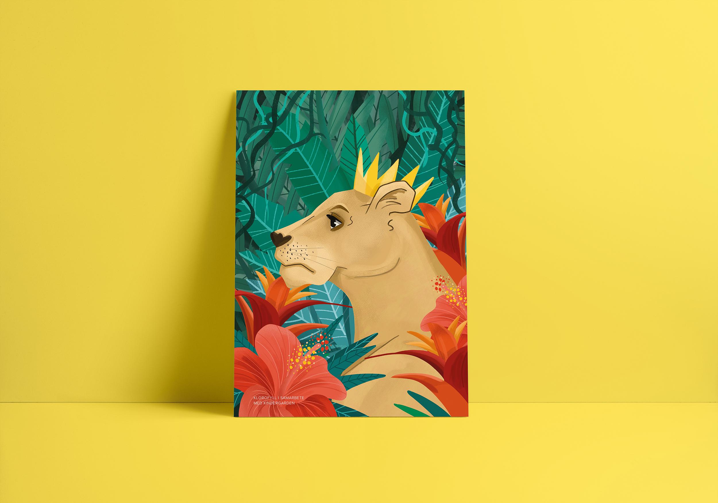Poster på en lejonhona med krona