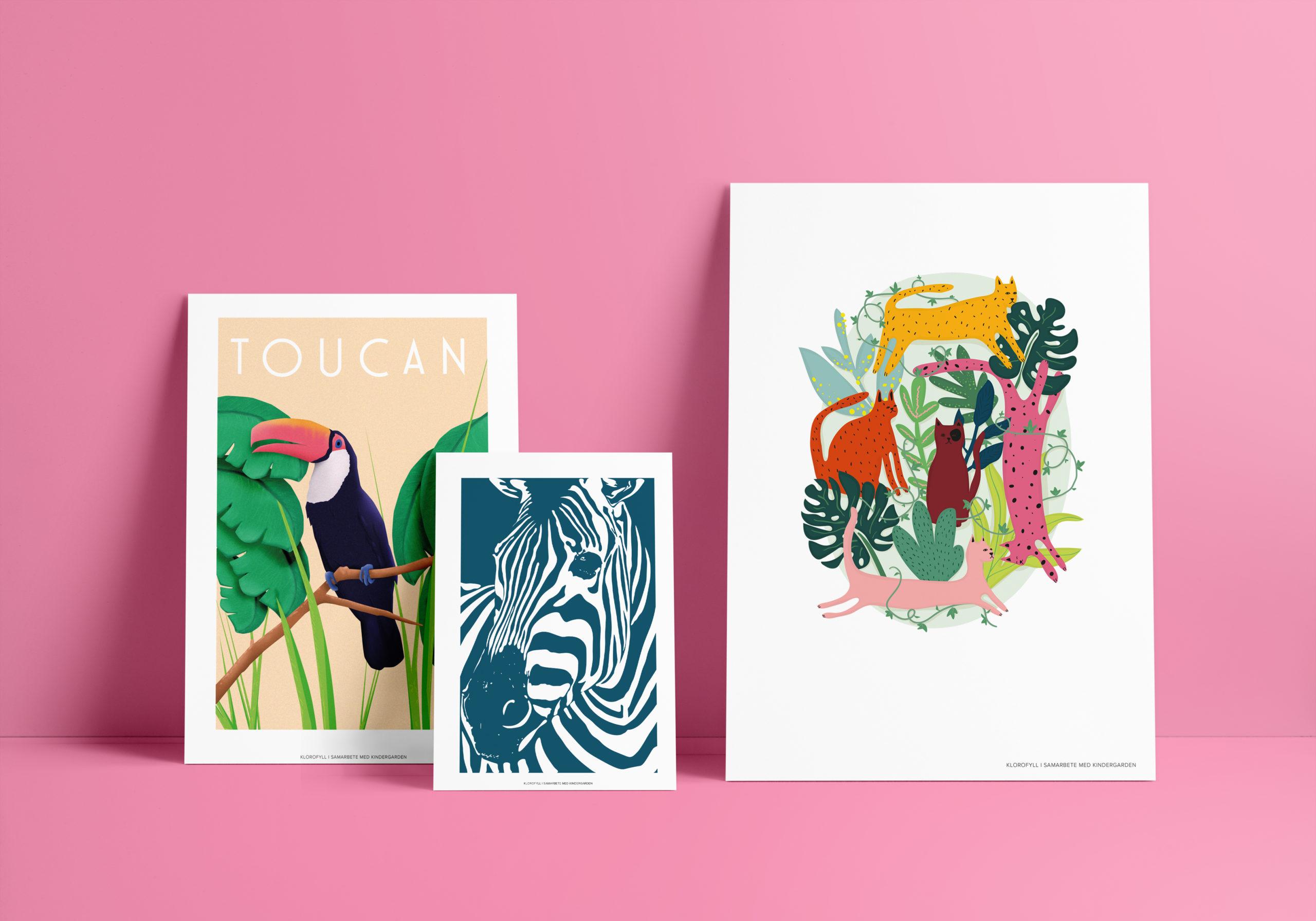 Posters på en tucan, en zebra och katter