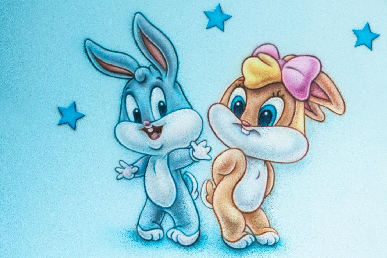 Bugs bunny baby airbrush muurschildering in babykamer