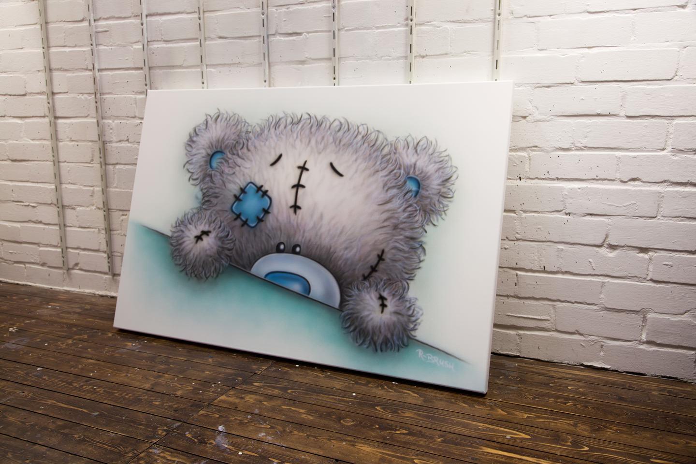 Airbrush schilderij van beertje voor in de babykamer of kinderkamer