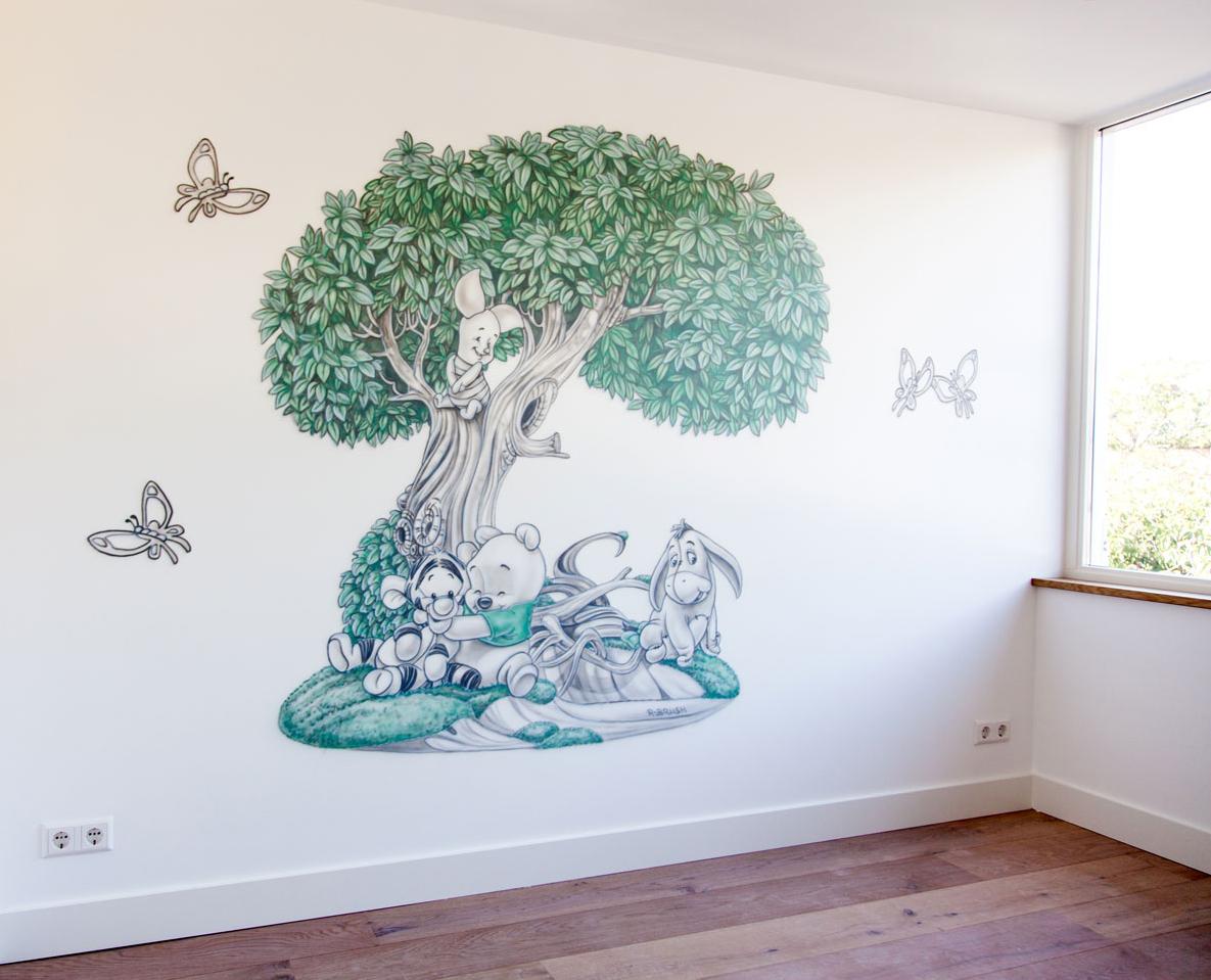 Pooh baby's boom met grijstinten en groen