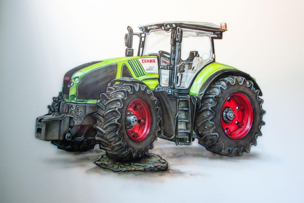 Tractor muurschildering van een Claas trekker in een jongenskamer