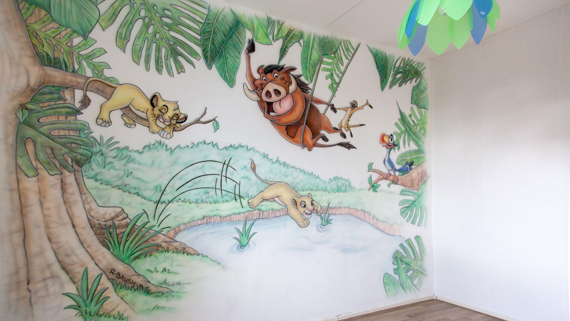 Lion king jungle muurschildering kinderkamer