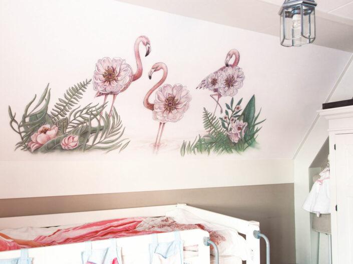 Flamingo's met bloemen