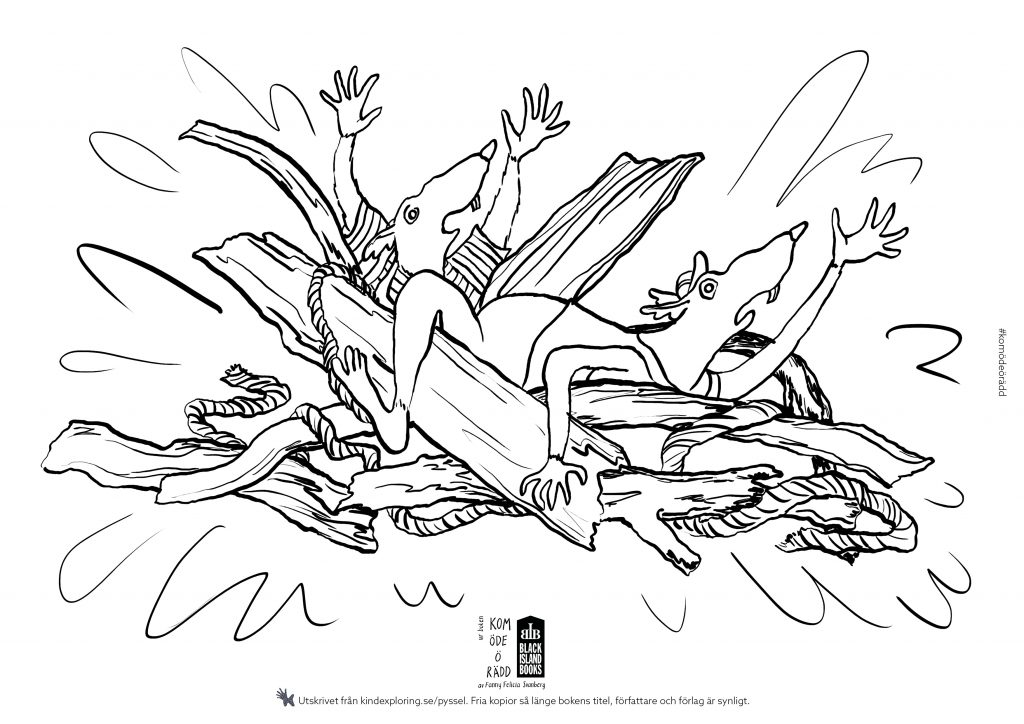 """Målarbild ur boken """"Kom öde ö rädd"""" av Fanny Felicia Svanberg (Black Island Books)"""