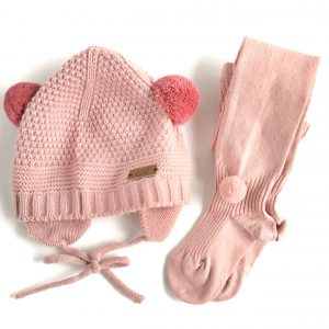 Sand Stitch Beanie with Pompoms // Dusty Pink