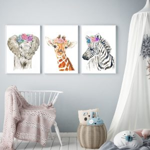 Baby Savannah Animals Watercolour Print Set