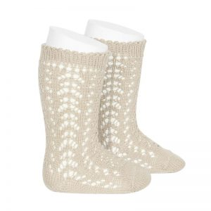 Open work knee high socks // Beige