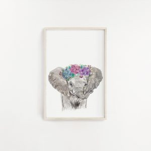 Baby Elephant Watercolour Print